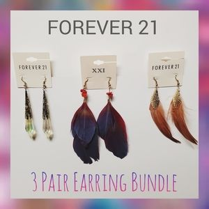 Forever 21 Earrings Feather Dangle 3 Pair Bundle